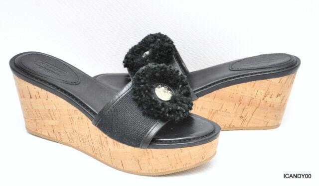 f85b1a5f33 Coach Jazmin Leather/Canvas Cork Wedge Sandal Platform Slide Black 8.5 New