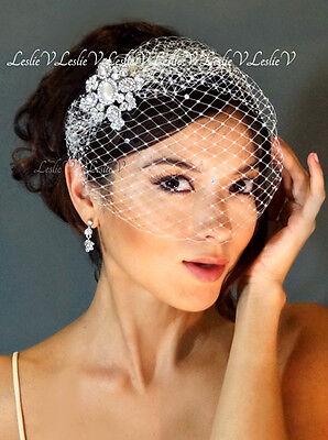 Crystal Pearl Brooch & IVORY Crystal Bridal Birdcage Veil 27-b30791s-D
