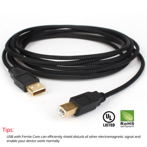 6ft~15ft For HP CANON DELL Lexmark Brother PRINTER CABLE CORD USB 2.0 A-B Male