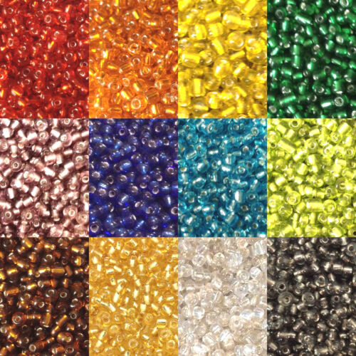 50g glass seed beads Silver-Lined size 8//0 - choice of colours approx 3mm