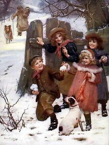 Art Print Victorian Children Snowball Dogs Rough Collie & Jack Russell Terrier