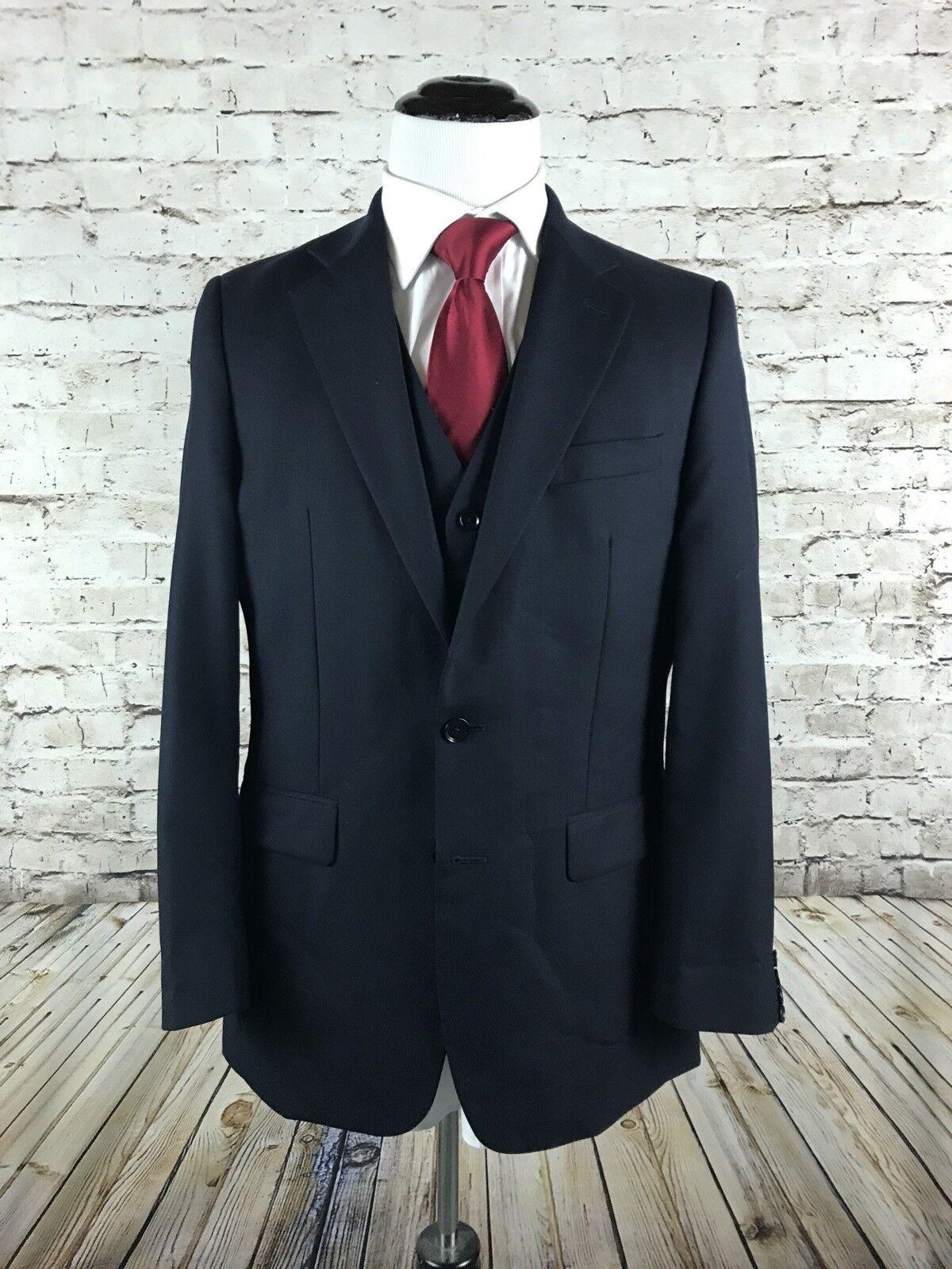 Charles Tyrwhitt Two Button Sport Coat and Vest Größe 40L Dark Blau Wool