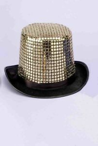 8c8a3739eef18 Sequin Top Hat Gold Unisex New by Funny Fashion 8712364633269