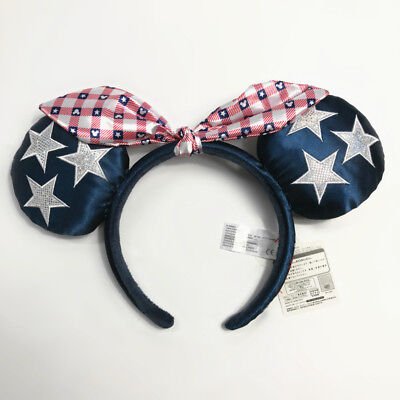 NEW Disney Parks All American Girl Minnie Mouse Ears Bow Headband Hat USA 4th