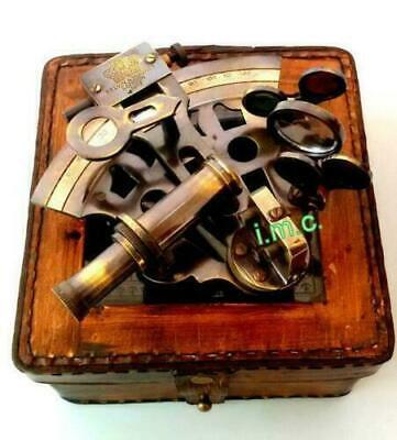 Beautiful 1917 Kelvin /& Hughes  Navigation instrument Sextant Brass W//leather