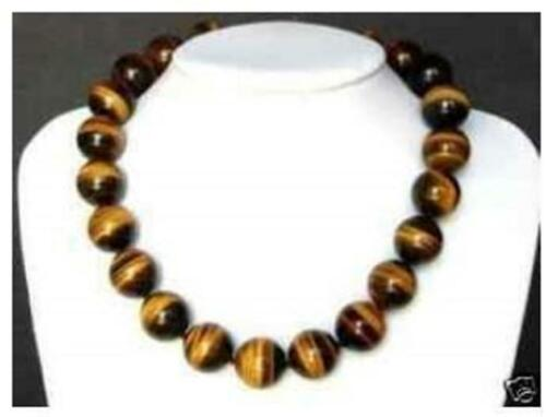 """10 mm African Roar naturel tiger/'s Eye ROUND BEADS NECKLACE 18/"""" # CH029"""