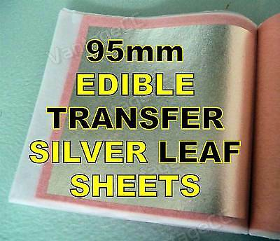 50x 95mm Pure 999 Silver Edible Transfer Leaf Sheets in Booklets, HUGE! Gilding