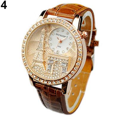 Fashion Women Eiffel Tower Crystal Dial Leather Band Quartz Chic Wristwatch B8CU