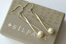 """Silpada Sterling Silver Pearl Diver Twist Drop Earrings 2 1/2"""" Long W2285"""