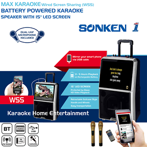 MAX-KARAOKE-PORTABLE-SYSTEM-2-WIRELESS-MICS-50-WATTS-amp-15-034-LCD-SCREEN