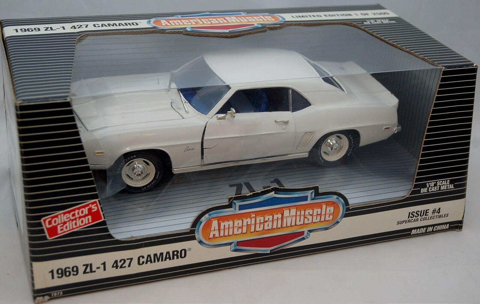 ERTL 1 18 1969 Camaro ZL-1 427 Supercar Dover WHITE 7873 American Muscle DAMAGED