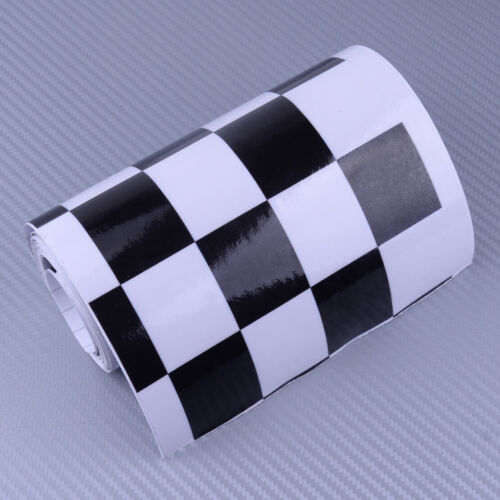 "6/"" Black//White Checkered Vinyl Decal Tape Car Motorcycle Tank Waterproof Sticker"