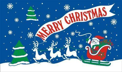 5/' x 3/' Merry Christmas Flag Black Santa Face Happy Xmas Banner Party Banner