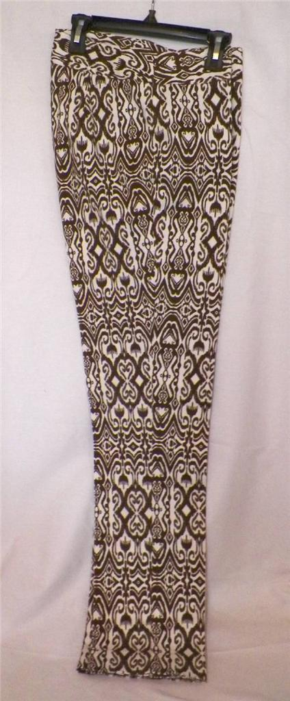 Ladies Size 6 Pants Kasper Desert Sunset Brown Cream Batik Tribal Print New Tags