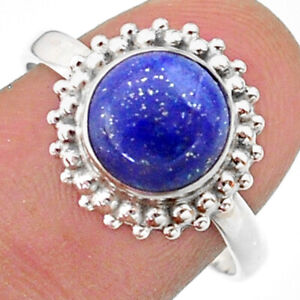 3.31cts Solitaire Natural Blue Lapis Lazuli Round Silver Ring Size 8.5 T41288