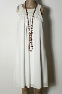 GrLm Etui Weiß Chiffon Kleid Creme Ärmellos Rinascimento vm0w8OyNn
