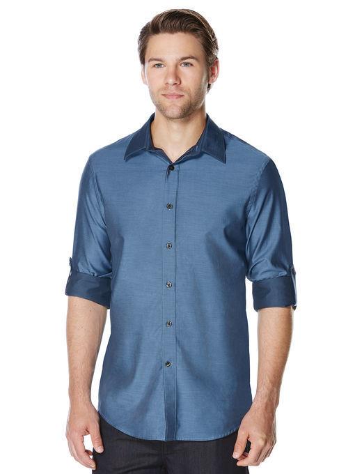 NWT PERRY ELLIS Men's ROLL SLEEVE bluee IRIDESCENT LONG SLEEVE DRESS SHIRT - XXL