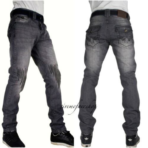 "Peviani super club g jeans slim straight rips hip grey /""rock-star/"" mens denim"