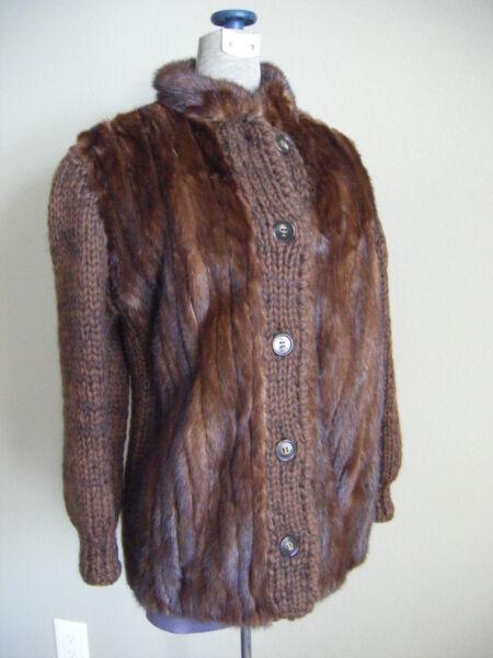 "2019 Moda "" Jacobson's "" Vintage Castano Pelliccia Di Visone Lana Jacket-bust 38 / Xs-s Belle Arti"