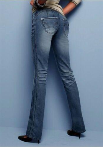 4 wards Jeans Neuf Taille 34 Pantalon Femmes Stretch Retro Dark BLEU USED DENIM push-up l32