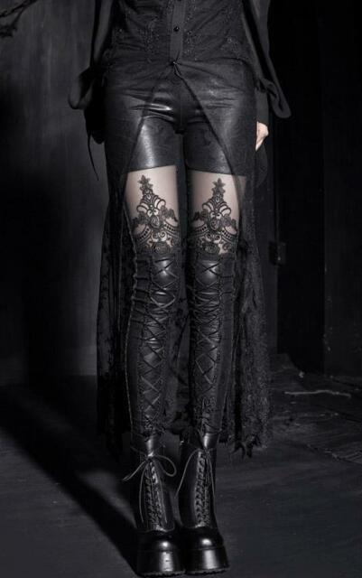 New PUNK RAVE Gothic Embossed Decorative Pattern Black Leggings AUSTRALIAN STOCK