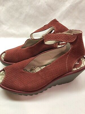 FLY London Perforated Leather Wedge