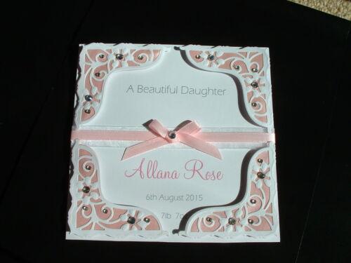 Handmade Personalised New Baby Card 6 x 6 Girl Boy Granddaughter Grandson