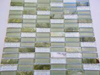Glas Naturstein Effekt Mosaik Fliesen jade grün Mix Sticks klarglas glasmosaik