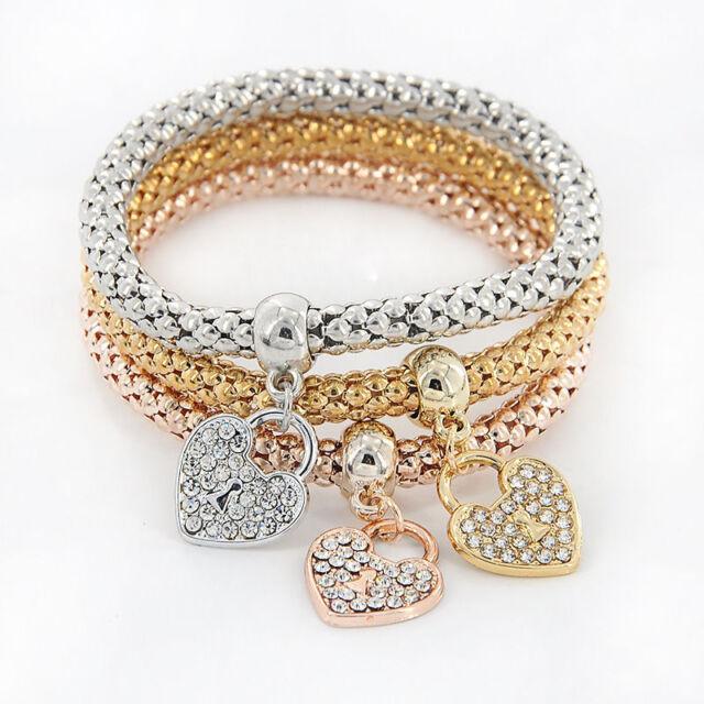 3Pcs Girl Women Gold Silver Rose Gold Bracelets Set Rhinestone Bangle Jewelry