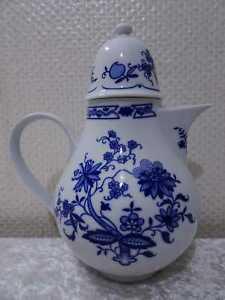 DDR-Graf-von-Henneberg-Porzellan-Kaffeekanne-Echt-Kobalt-Vintage
