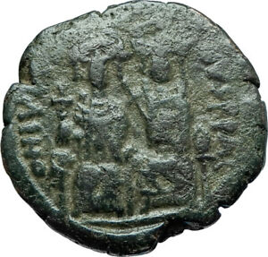 JUSTIN-II-amp-SOPHIA-565AD-Constantinople-Follis-Ancient-Byzantine-Coin-i66084