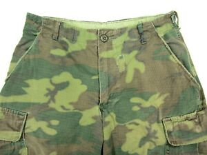 Vtg-Vietnam-US-Army-USMC-Tropical-Camo-Ripstop-ERDL-pants-SMALL-SHORT-27-28-29