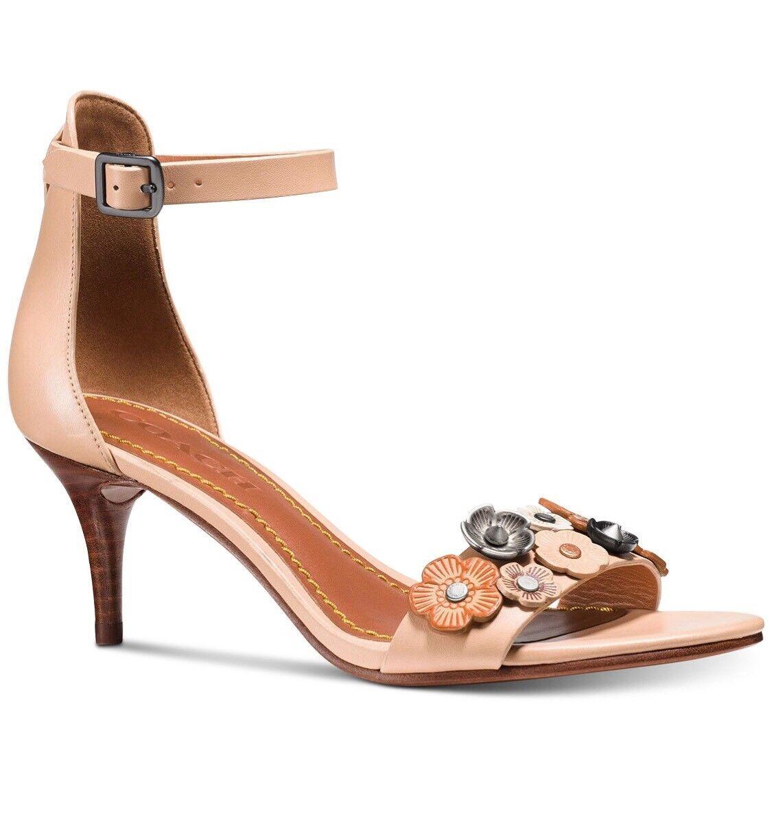 Entrenador Floral rosado Té Té Té mediados talón 2.5  Sandalias Tamaño 8 de cuero Color madera de haya  el mas de moda