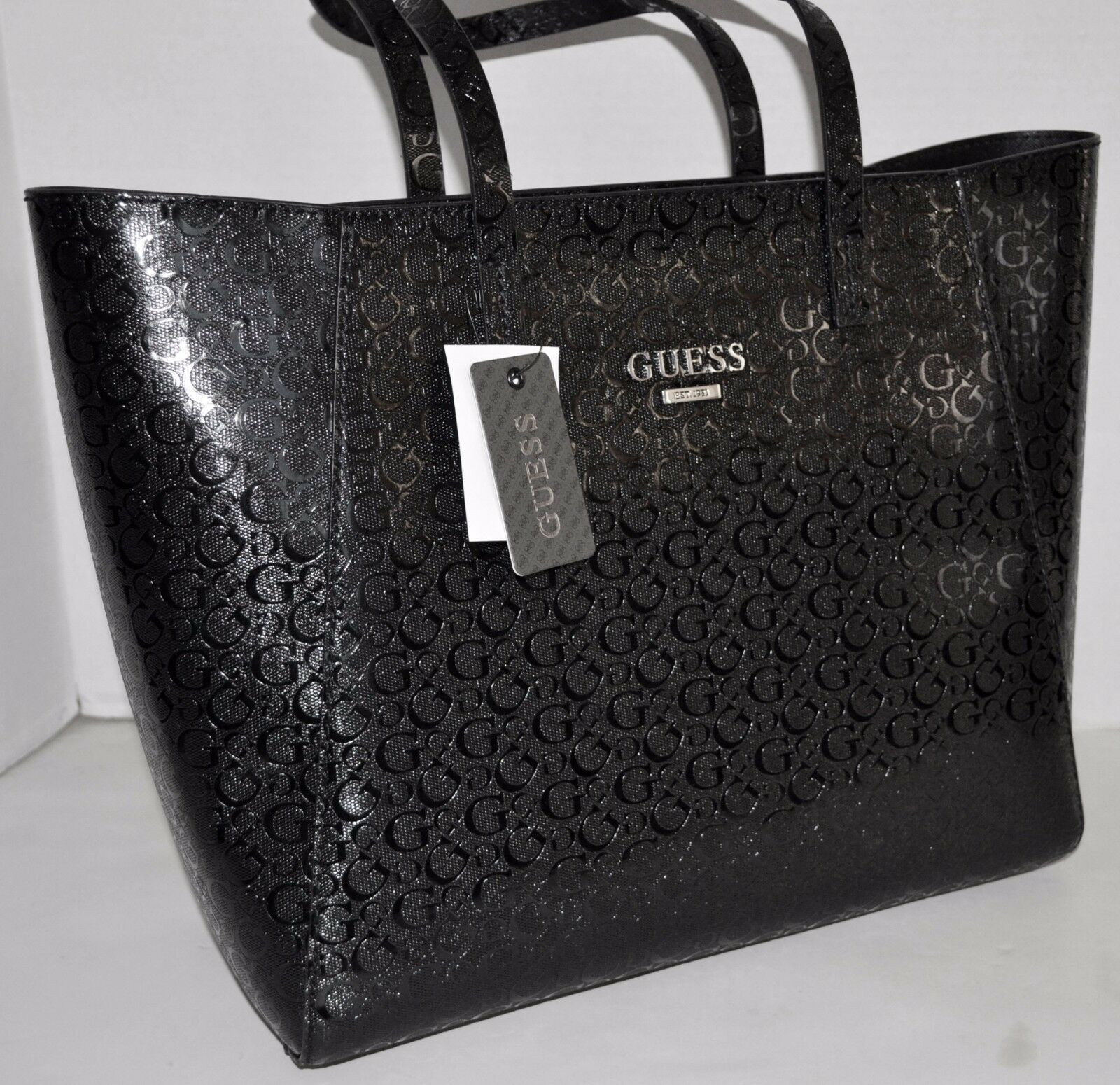 f88916da9657 GUESS Liberate Tote Handbag Signature Embossed Black for sale online ...