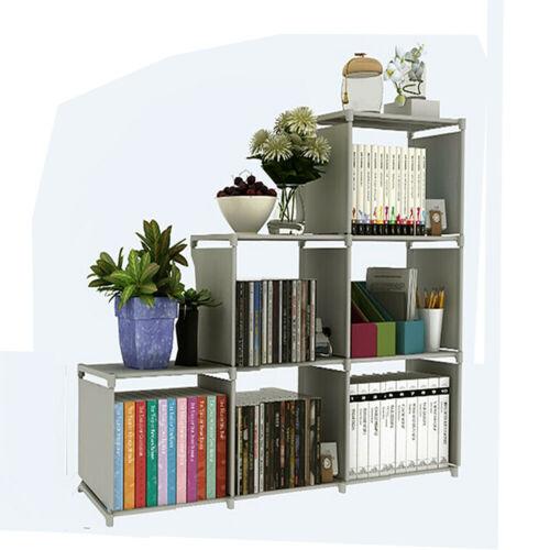 Storage Cube 3-tier Closet Organizer Shelf 6-cube Cabinet Bookcase Grey US STOCK