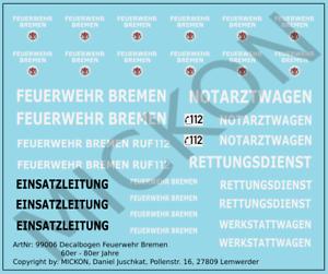 Mickon 99006 Decals Feuerwehr Bremen Logos Türwappen 60er - 80er Jahre 1:87 H0