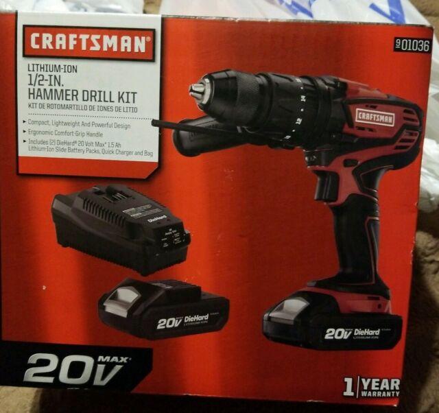 "Craftsman 20V Max 1//2/"" Hammer Drill Kit 2 Li-ion batteries Charger 18+2 Clutch"