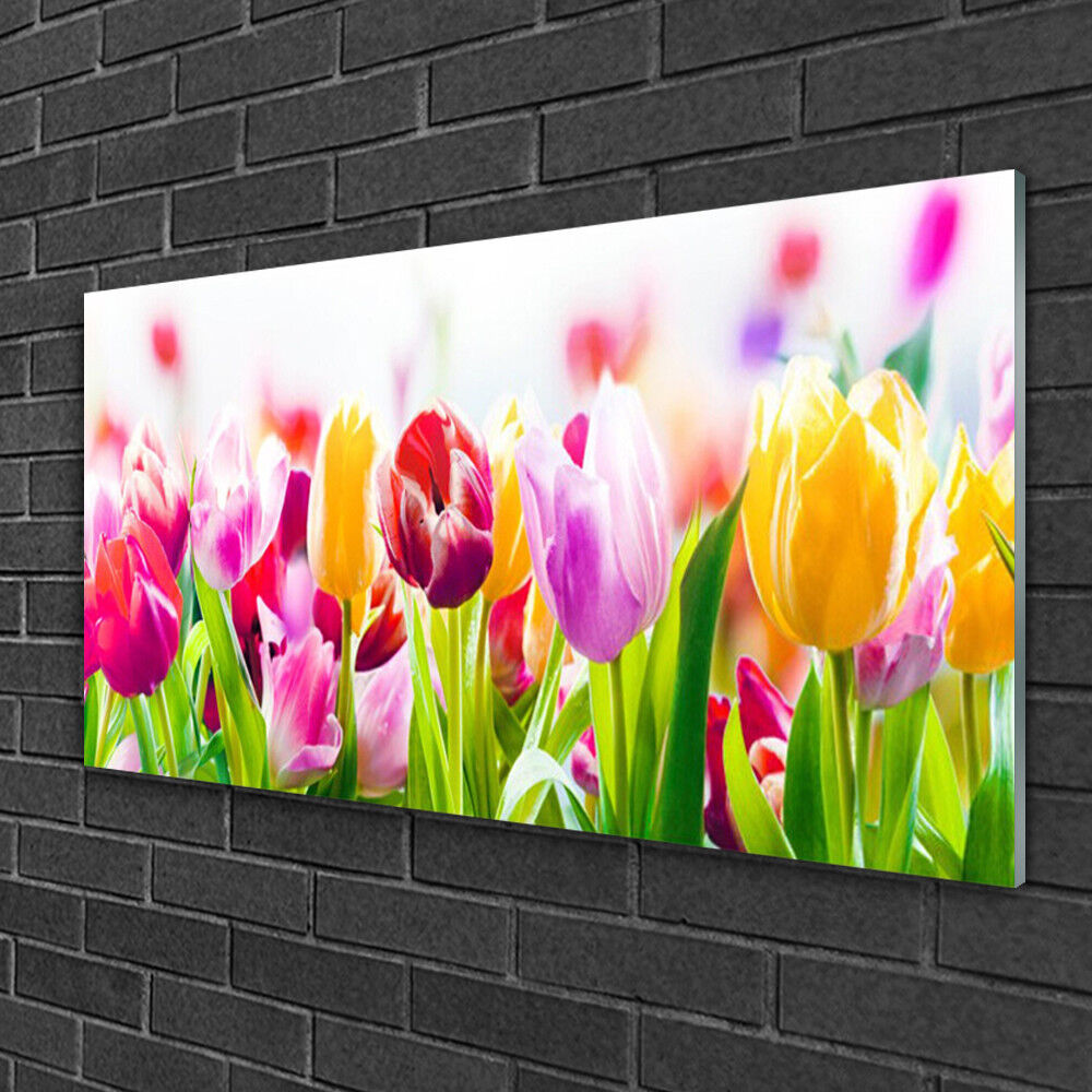 Print on Glass Wall art 100x50 Picture Image Tulips Floral