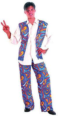 MENS Costume Fancy Dress Up HT Psychadelic Hippie Size S,M,L