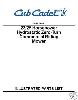 Cub Cadet Hydrostatic ZeroTurn  Commercial Mower Parts Manual # 3654-3660