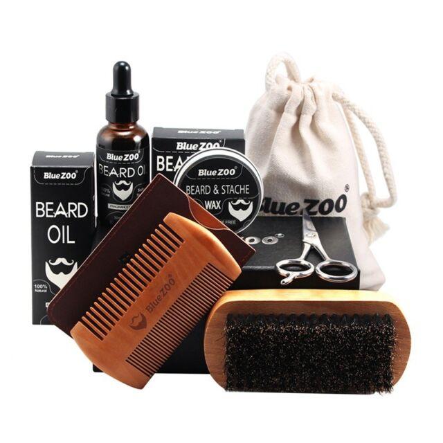 BlueZOO Men Moustache Cream Beard Oil Kit with Moustache Comb Brush Storage b Y5