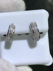 14k White Gold & Genuine Diamonds G/VS1 0.62ct Pave Wide Huggie Hoop Earrings