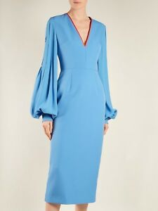 Details about $1295 NEW ROKSANDA Essi Balloon MIDI Dress Bell Sleeve Agapanthus Blue UK 6 US 2