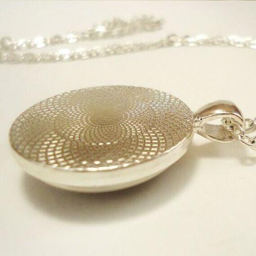 Retro Crown Flower Bird Glass Bronze Chain Photo Locket Pendant Necklace G102