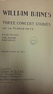 Baines: Trois Concert Studies For The Piano: The Naiad: Musique (lp3)-afficher Le Titre D'origine Design Professionnel