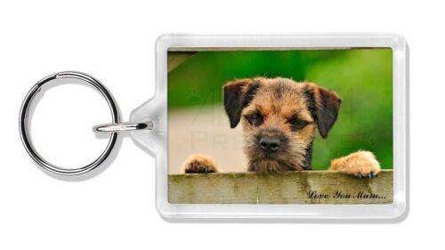 Border Terrier Puppy 'Love You Mum' Photo Keyring Animal Gift, AD-BT5lymK
