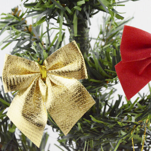 12X Christmas Tree Bow Decoration Baubles XMAS Party Garden Bows Ornament In UK