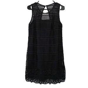 Abercrombie & Fitch Dress Womens Medium Black Floral Crochet Sleeveless Shift