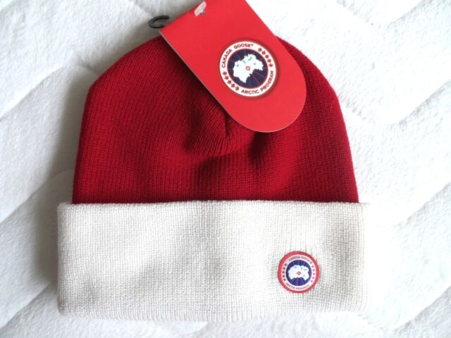 CANADA GOOSE Redwood White MERINO WOOL WATCH BEANIE Tags MENS Toque Hat