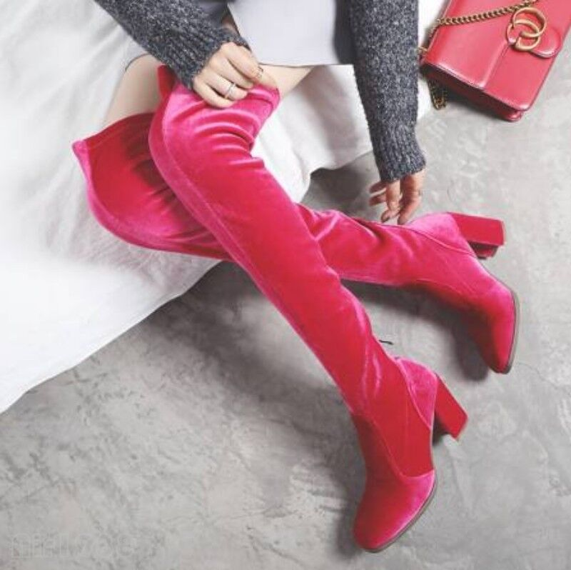 Luxury Women's Chunky Heels Velet Velet Velet Stretchy Over the Knee Thigh Boots shoes Hot 007324